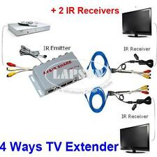 Wired AV Transmitter Sender 2 Receivers IR Infrared Repeater Emitter TV Extender