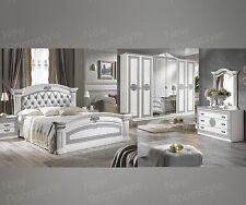Italian Alexi Lue Upholstered Bedroom Set Made In Italy High Gloss White