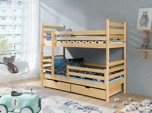 Etagenbett 90x180 MATRATZE Kinderbett Hochbett Doppelbett Stockbett KIEFER NATUR