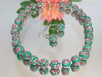 2er Schmuckset Halskette Ohrringe Fimoperle mehrfarbig bunt strass grün 480b