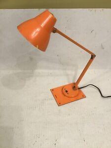 Vintage Rare MCM Orange Tensor Metal Articulated Desk Lamp Light Works