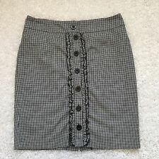 Bebe Womens Pencil Skirt 8 Black White Check Ruffle Button Front Cotton Blend
