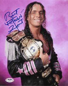 BRET HART WWE WCW HITMAN SIGNED AUTOGRAPH 8X10 PHOTO #3 W/ PSA/DNA COA