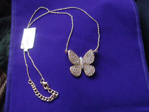 Exquisite Diamond and 9K Gold Butterfly Necklace, New.