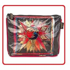 "Laurel Burch #6672 Sun Moon Star Dance Foiled Canvas 10""x2""x7"" Cosmetic Bag~New~"