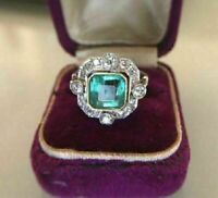3.00 Ct Art Deco Antique Emerald Valentine Silver Ring Reproduction Circa 1850