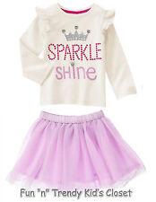 NWT Gymboree TUTU FUN Girls Size 2T Sparkle Tulle Skirt & Tee Shirt Top 2-PC SET