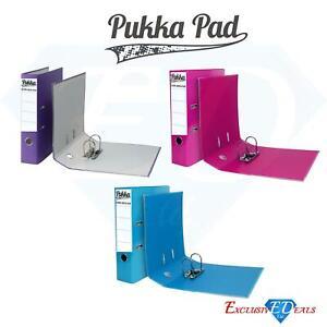 3 x Pukka Premium Lever Arch Files Pink, Purple & TealFor Filing, Storage 75mm