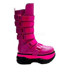 Demonia NEPTUNE-310 Hot Pink Men's Platform UV Reactive Cyber Goth Boots Size 9