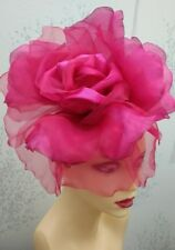 "LARGE 12"" DIAMETER SILK FLOWER FASCINATOR FUSCHIA PINK BY HATS2GO MADE TO ORDER"