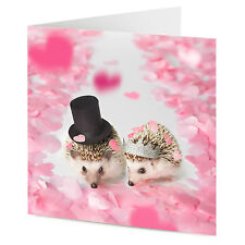 Cute hedgehog couple on confetti hearts wedding engagement congratulations card