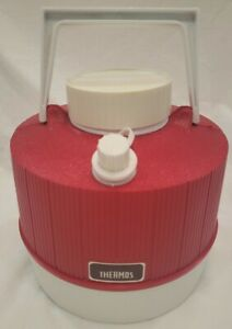 Vintage Red & White Thermos 1 Gallon Plastic Water Cooler Jug Made In USA