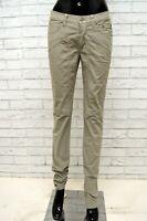 Pantalone JECKERSON Donna Taglia Size 38 Jeans Pants Woman Cotone Beige Slim Fit
