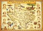 Pictorial Centennial Map Texas Daughters of the Republic of Texas Wall Poster