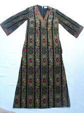 VINTAGE 1970s FRENCH BLACK FLORAL CORDUROY MAXI DRESS - BOHO / HIPPY / ETHNIC