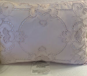 """Simply Shabby Chic Throw Pillow White Eyelet Pink Ribbon Lace Around Edge 15"""""""