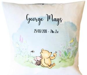 "Personalised Winnie the pooh - 16"" white cushion cover boy/girl nursery gift"