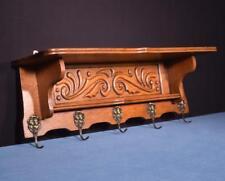 """*32"""" Vintage French Oak Coat Rack Hall Tree Wood Shelf w/Brass Hooks"""