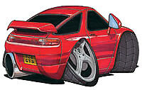 Porsche 928 Red Cartoon Car T-shirt GT S4 S S2 SE GTS available in sizes S-3XL