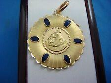 GORGEOUS 18K YELLOW GOLD VINTAGE RELIGIOUS MEDAL-PENDANT WITH BLUE ENAMEL