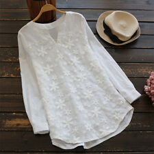 Plus Size Womens Floral Long Sleeve Blouse Baggy Tops Ladies V Neck Lace T Shirt