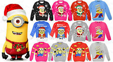 Boys Girls Kids Minion Despicable Christmas Xmas Banana Novelty Jumper Knitted