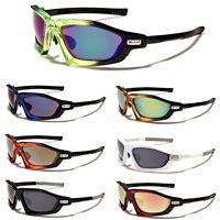 Men Sport Cycling Baseball Ski Tennis WrapAround Sunglasses Red Blue Mirror Lens