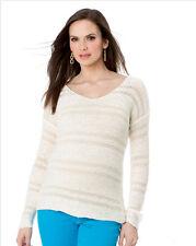 NWT $198 SPLENDID Pea in the Pod Maternity Ivory V-Neck Novelty Sweater Tunic L