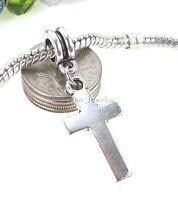 Smooth Cross Dangle Silver Tone Large Hole Bead for European Charm Bracelet