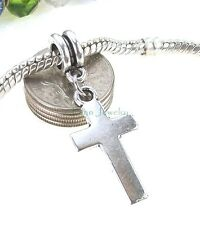 Smooth Cross Dangle Silver Tone Large Hole Bead for European Charm Bracelet
