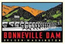 Bonneville Dam    OR- WA  Oregon  Vintage-Looking    Sticker-Decal-Luggage Label