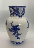"""Tiffany & Co """"Tiffany Delft"""" 1996 Blue & White Floral 9.25"""" Vase Portuguese"""