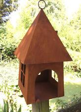Vogelhaus Haus Windlicht H40cm Futterhaus Edelrost Rost Metall Dekoration Vogel
