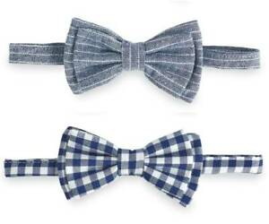 Mud Pie Easter Boys Blue Gingham or Chambray Stripe Bow Tie
