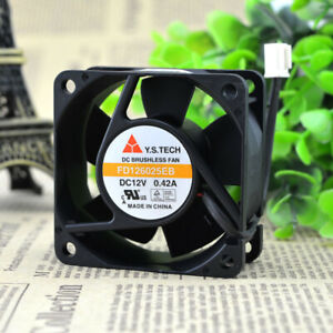 Y.S.TECH FD126025EB 6025 6cm 12V 0.42A 6800RPM 40.1CFM 2-pin double ball DC fan