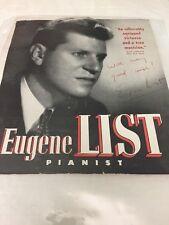 Eugene List Classical Pianist Music Signed Autograph Magazine Page. Unique!