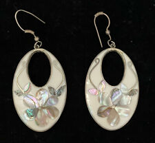 Inlay Oval Dangle Earrings Alpaca Mexico Abalone Floral Jet