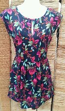 NEW LOOK Ladies Sleeveless Tie Waist Blue, Green & Pink Floral Playsuit Size 8