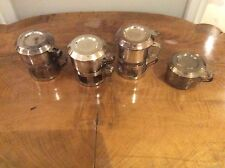 Vintage Antique Silver coffee glass holders with stands, lids, etc