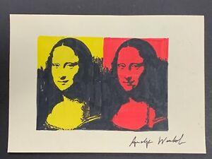 "Andy Warhol Pop Art Mona Lisa on Paper, Signed 11.5"" x 8.25"""
