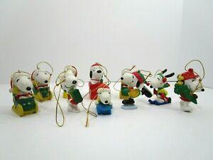 10 Vintage PEANUTS Snoopy PVC And Ceramic Christmas Ornaments