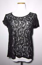 Francesca's Collection Birdcage Label Top Blouse  Medium Sheer Black Sequin