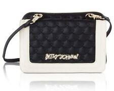 BR24205 BETSEY JOHNSON Black & White Quilted CROSSBODY Handbag NWT $88