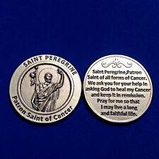 St PEREGRINE Patron Saint of Cancer Pocket Token Protection Healing Medal Prayer