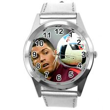 RONALDO SOCCER PLAYER FOOTBALL GAME SILVER LEATHER ROUND CD DVD TV SPORT WATCH