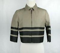 Akris Punto 3/4 Sleeve Cropped Zip Front Beige Black Jacket Size AU 8