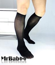 Hot Sale New 2Pairs Lot Men's Sexy Knee High Long Striped Dress Silk Sheer Socks