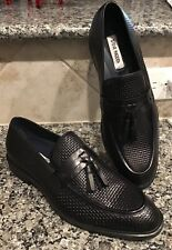 STEVE MADDEN Men's Sz 8 M  Ebbert Tassel Loafer Black Woven Texture NEW