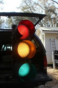"""RARE INTELIGHT 44"""" TRAFFIC SIGNAL HOUSING W/ STANDARD LED LIGHTS COLLECTABLE"""