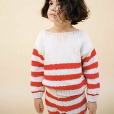 babaa Kids No.3 Cotton Knit Jumper in Red & Ivory Size 8